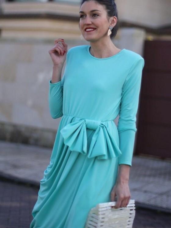 Vestid Cristina, verde, Low Cost, midi, invitada perfecta, coctel, Mariquita Trasquilá