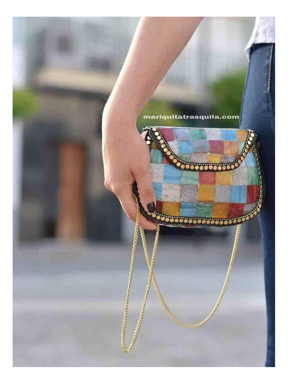 Clutch Mosaico India, colores, invitada, bolso rígido,  multicolor, Mariquita Trasquilá
