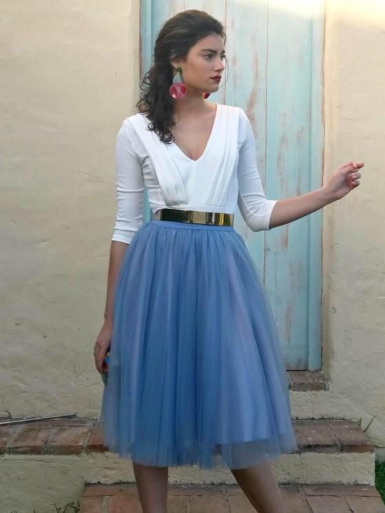 Falda de tul capas, invitada perfecta, azul, Mariquita Trasquilá