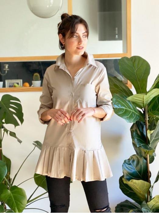 Camisa Volante Tablas, Camisa Larga, Camisa Cómoda, Mariquita Trasquilá