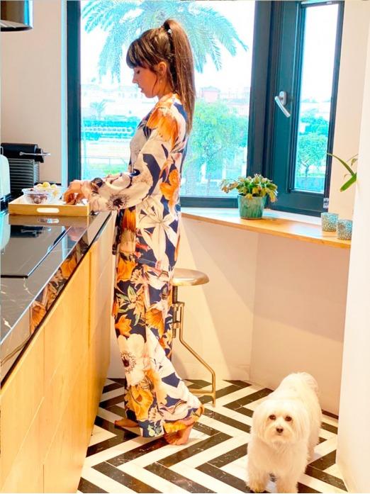 Pijama Gaudí Navy M.T., Pijama Mujer, Pijama Raso, Pijama Seda, Pijama Barato, Mariquita Trasquilá