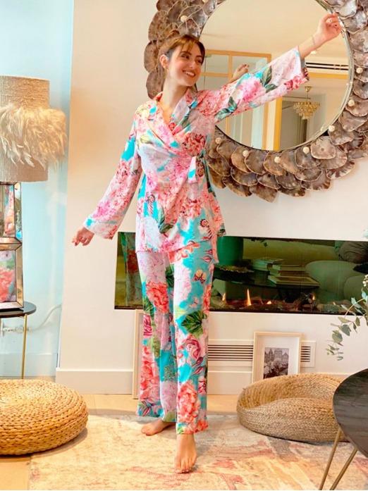 Pijama Gaudí Hortensias M.T, Pijama Mujer, Pijama Raso, Pijama Bonito, Pijama Barato, Mariquita Trasquilá