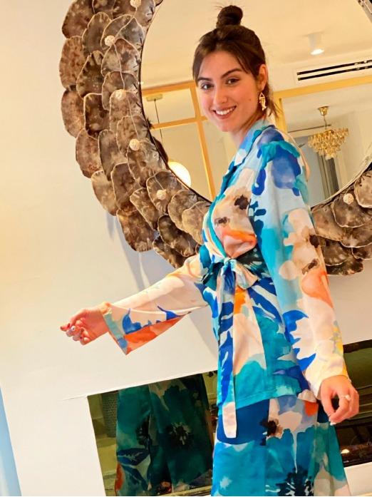 Pijama Gaudí Azules M.T., Pijama Mujer, Pijama Raso, Pijama Barato, Mariquita Trasquilá