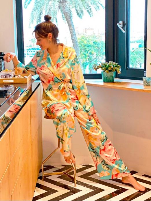Pijama Gaudí Turquesa M.T., Pijama Mujer, Pijama raso, pijama Barato, Mariquita Trasquilá