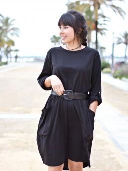 Vestido Corto Bolsillos, Vestido Barato, Vestido Negro, Mariquita Trasquilá