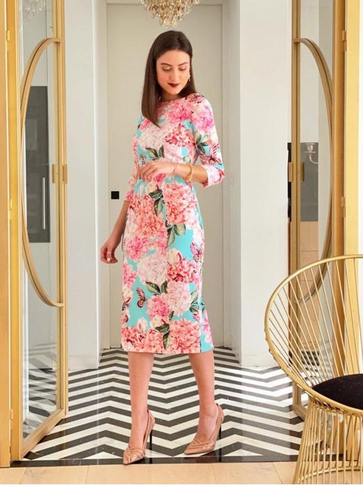 Vestido Midi Hortensias Mariquita Trasquilá, Vestido Boda, Vestido Invitada, Mamá de comunión, Invitada Perfecta