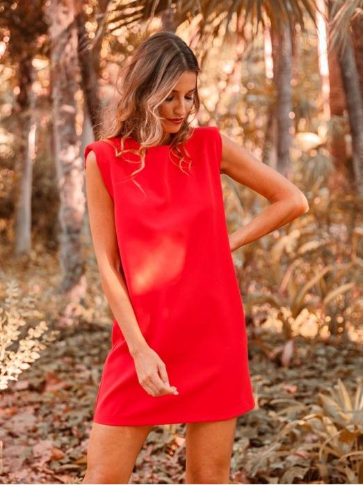 Vestido Liso Hombreras, Vestido Rojo, Vestido Mujer, Mariquita Trasquilá