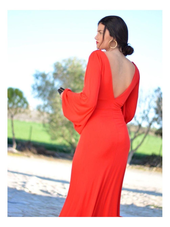 Vestido Noa, vestido Largo, Low Cost, fiesta, rojo, invitada, Mariquita Trasquilá