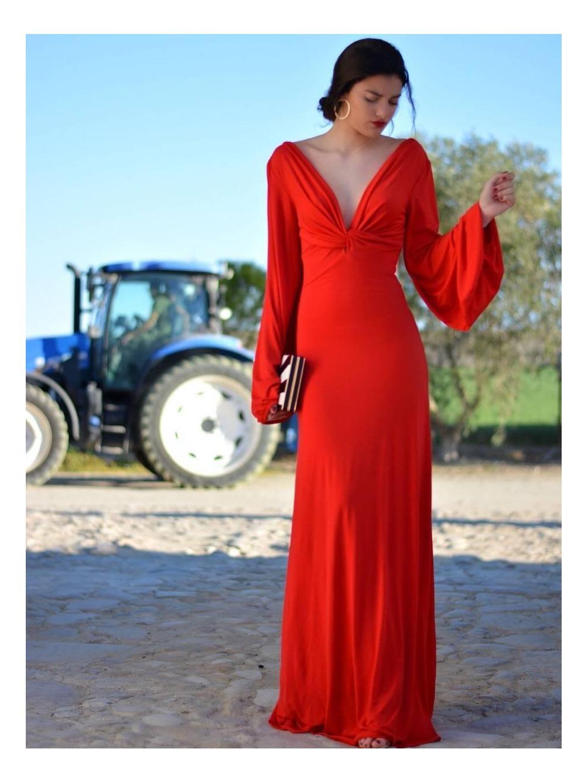 Vestido Noa, vestido Largo, Low Cost, rojo, invitada, Mariquita Trasquilá