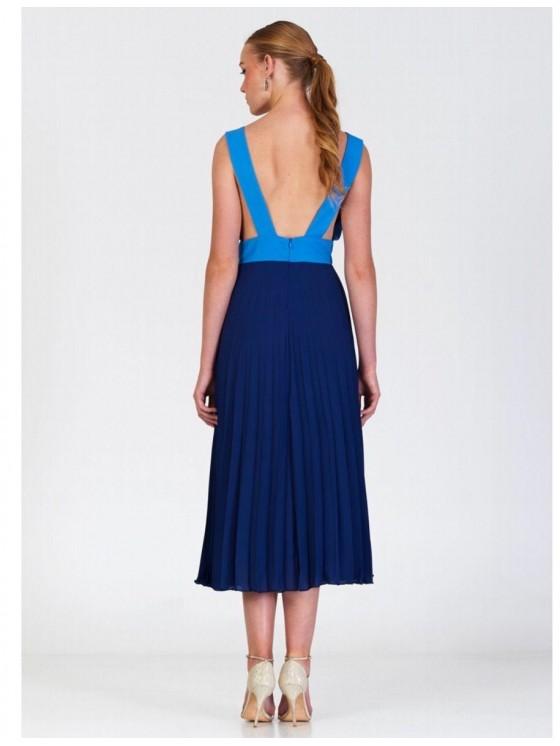 Vestido Marú Atelier, plisado, invitada perfecta, azul, Mariquita Trasquilá