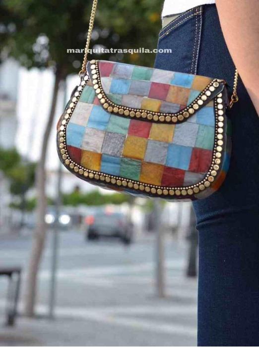 Clutch Mosaico India, colores, invitada, bolso rígido, Mariquita Trasquilá