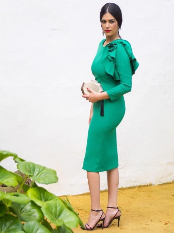 Vestido de fiesta, invitada perfecta, flor verde, ideal, Mariquita Trasquilá