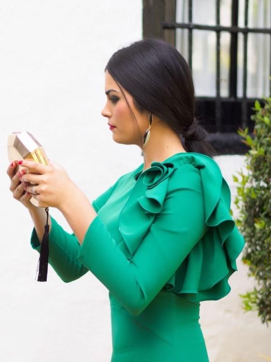 Vestido de fiesta, invitada perfecta, flor verde, vestido corto, Mariquita Trasquilá