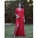 Vestido de fiesta largo, rojo, Penelope, invitada de noche, Mariquita Trasquilá