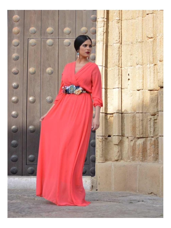 Vestido de invitada de noche, vestido fiesta largo, coral, Mariquita Trasquilá