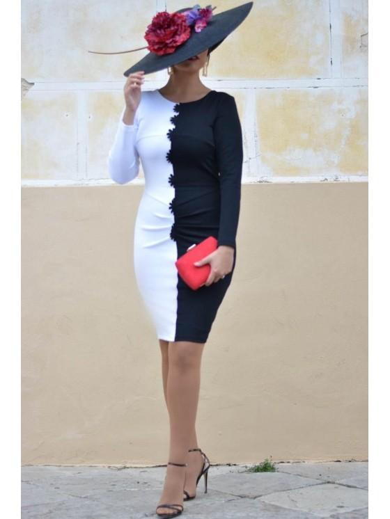 Vestido Mirella, blanco y negro, eventos, bicolor, Mariquita Trasquilá
