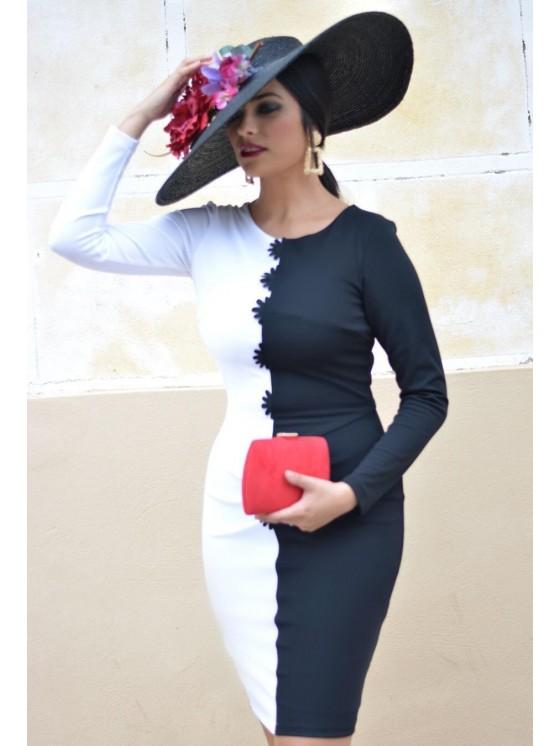 Vestido Mirella, blanco y negro, eventos, bicolor, midi, Mariquita Trasquilá