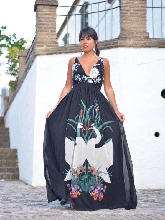 Vestido Cisne Negro, Invitada de largo,  vestido de noche, Mariquita Trasquilá