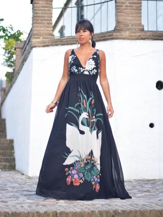 Vestido Cisne Negro, Invitada de largo, vestido de fiesta negro, Mariquita Trasquilá