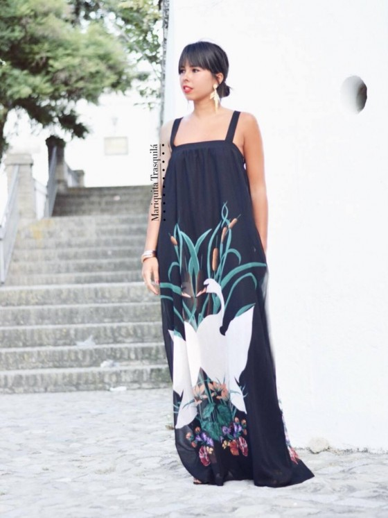 Vestido Boho Cisne largo, invitada de noche, Mariquita Trasquilá