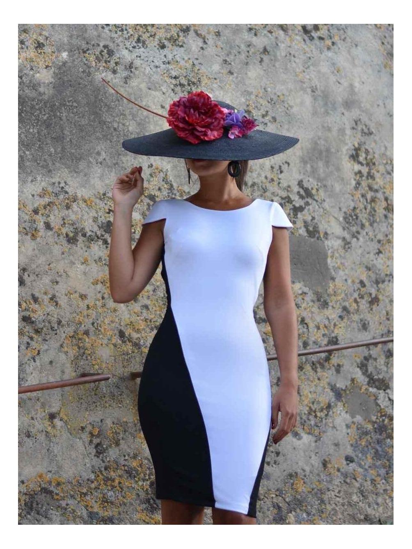 Vestido de invitada, vestido blanco y negro, bicolor