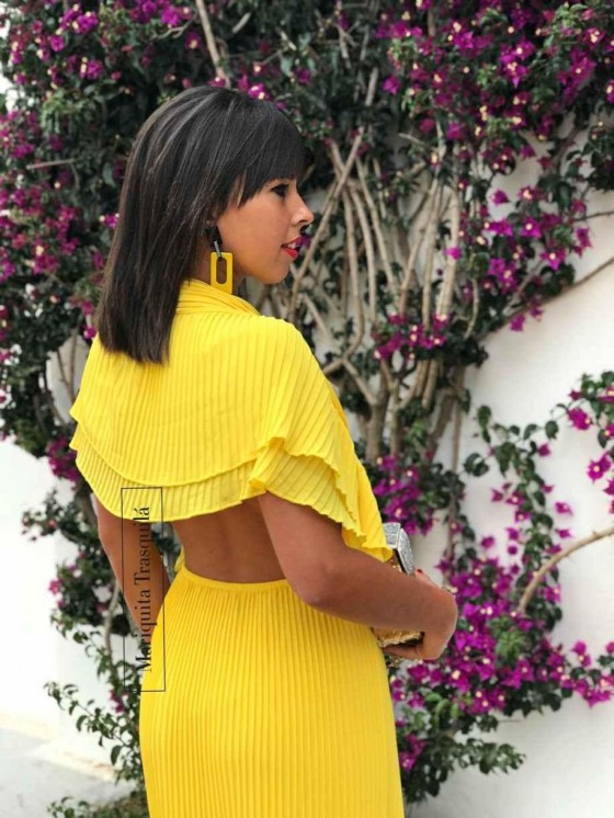 Vestido plisado largo, amarillo, vestido de verano, invitada de noche, vestido de fiesta