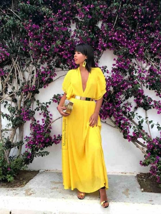 Vestido plisado largo, amarillo, invitada de noche, vestido de fiesta