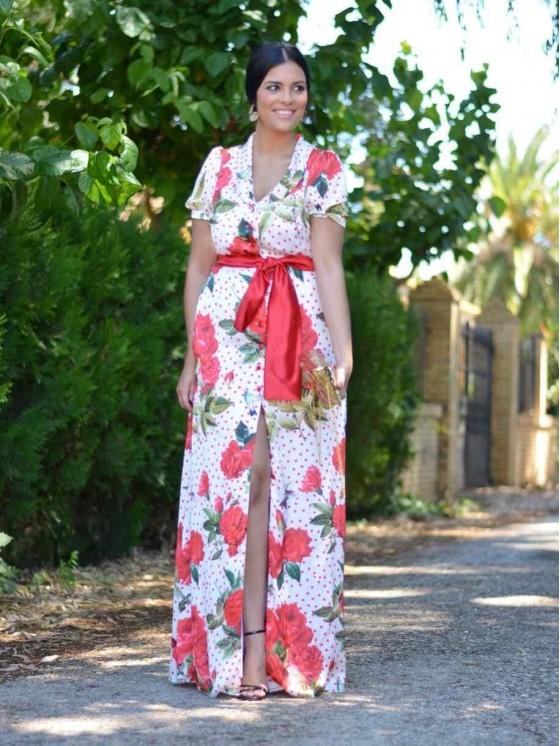 Vestido Rosas y Lunares, invitada de largo, Mariquita Trasquilá