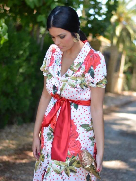 Vestido Rosas y Lunares, invitada de largo,  invitada de flores, Mariquita Trasquilá