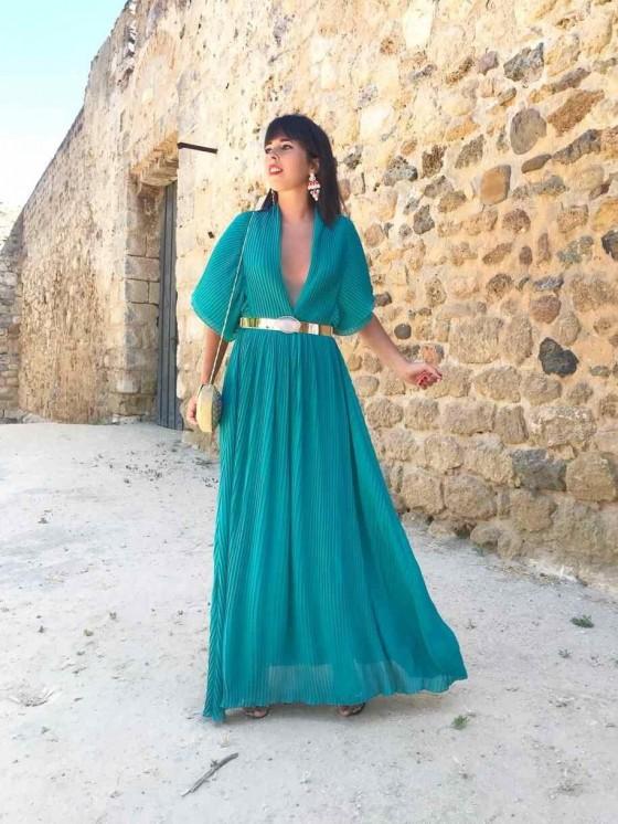 Vestido plisado largo, buganvilla, invitada de noche, vestido de fiesta