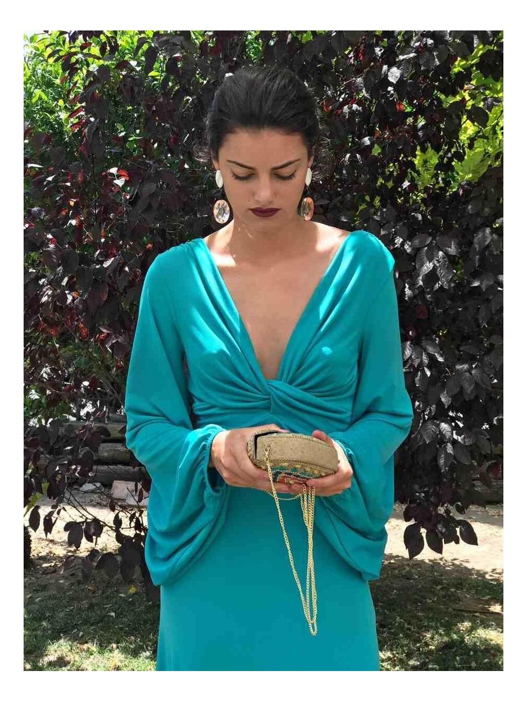 Vestido Noa, vestido Largo, Low Cost, verde, invitada, Mariquita Trasquilá