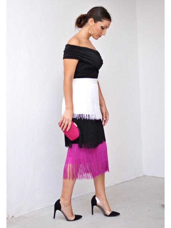 Falda de flecos, invitada Perfecta,  buganvilla, trio de flecos, falda de invitada