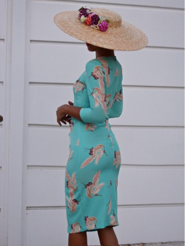 Vestido Print Grulla, ideal, invitada perfecta, Mariquita Trasquilá