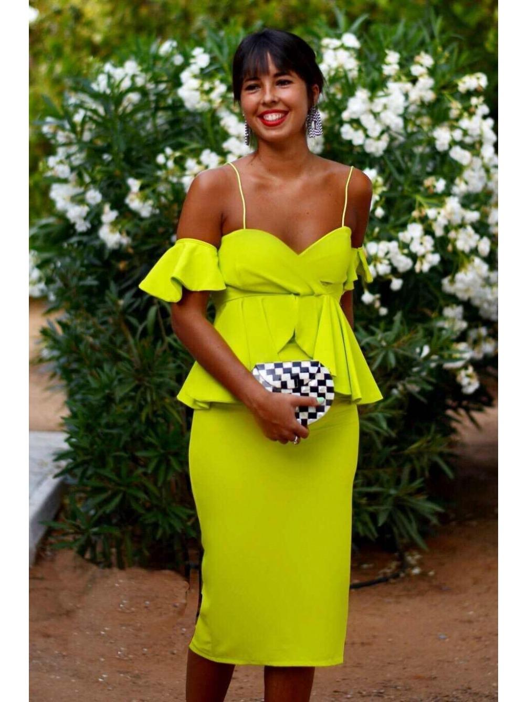 Vestido Fiesta Panamará, invitada Perfecta, verde lima,  Mariquita Trasquilá