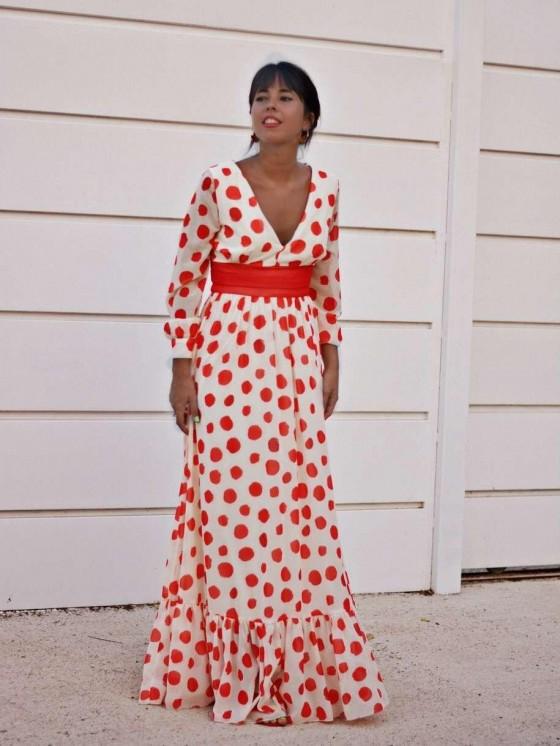 Vestido de fiesta largo Angela, lunares rojos, Mariquita Trasquilá