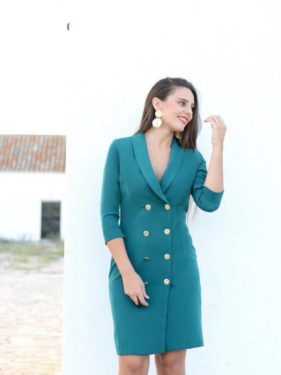 Vestido Smoking Mini, tejido estilo militar,  vestido de fiesta, Mariquita Trasquilá