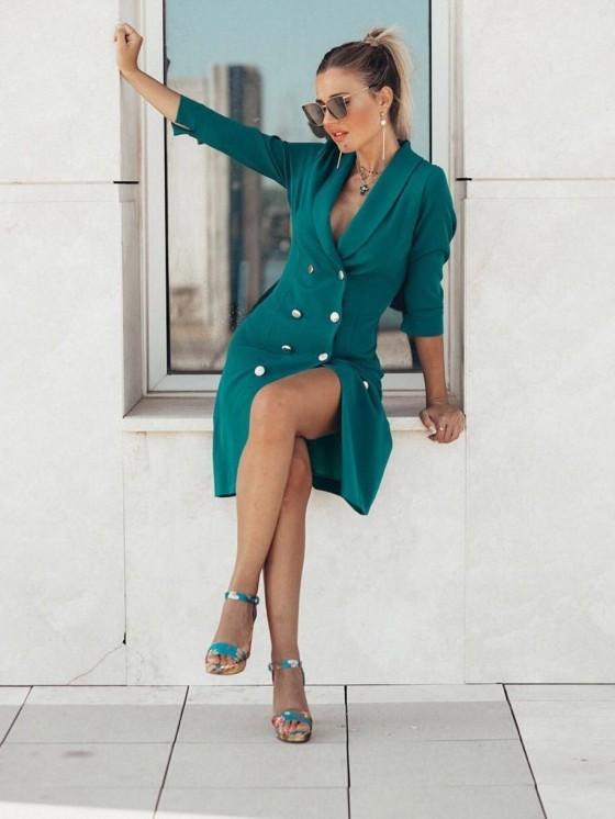 Vestido Smoking Mini, tejido estilo militar, verde pato, fiesta, Mariquita Trasquilá