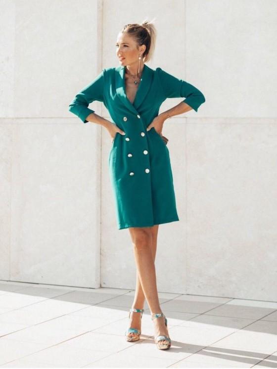 Vestido Smoking Mini, tejido estilo militar, Mariquita Trasquilá