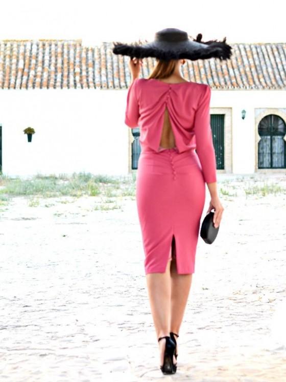 Vestido de fiesta, Marietta, invitada perfecta,  grosella, moda andaluza, espalda descubierta, Mariquita Trasquilá
