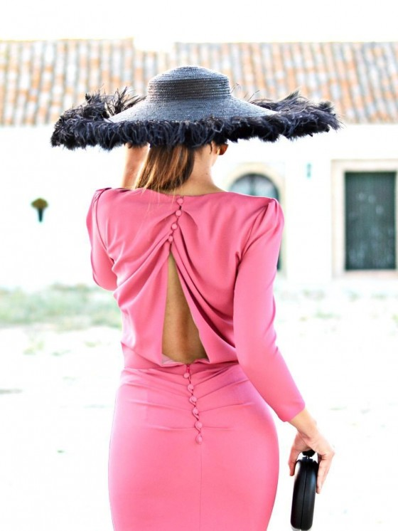 Vestido de fiesta, Marietta, invitada perfecta,  grosella, espalda descubierta, Mariquita Trasquilá