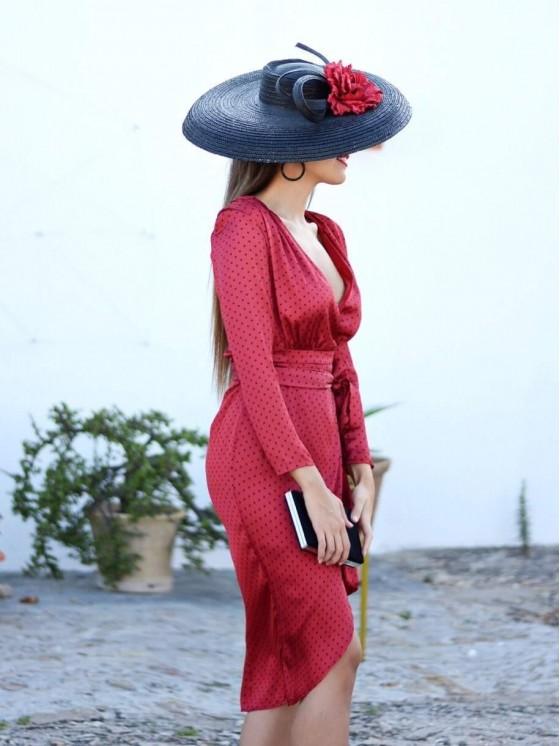 Vestido de fiesta Lunares Otoño, rojo,  Invitada Perfecta, lunares, tulipán