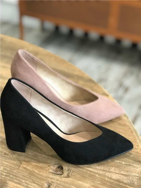 Zapato tacón grueso, tacón de salón de antelan, nude, tienda de zapatos baratos