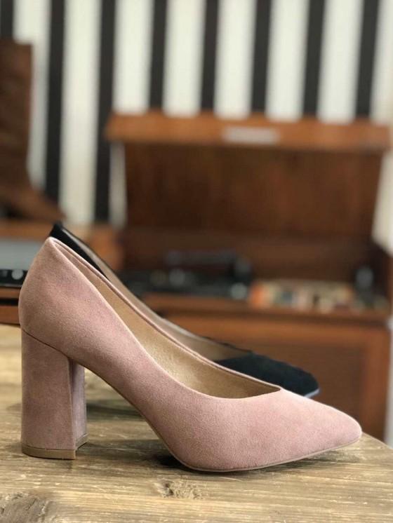 Zapato tacón grueso, tacón de salón de antelina, tienda de zapatos baratos