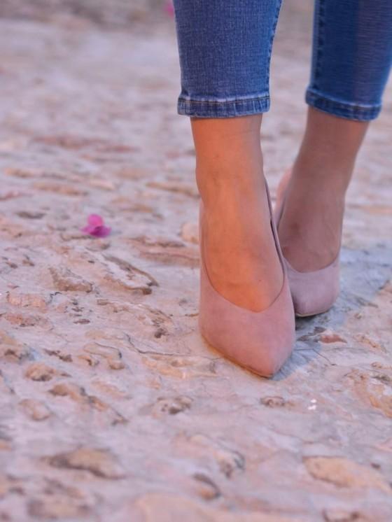 Zapato tacón grueso, tacón de salón de antelina,  Lowcost tienda de zapatos baratos