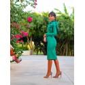 Vestido de fiesta, invitada perfecta, flor verde, midi, Mariquita Trasquilá