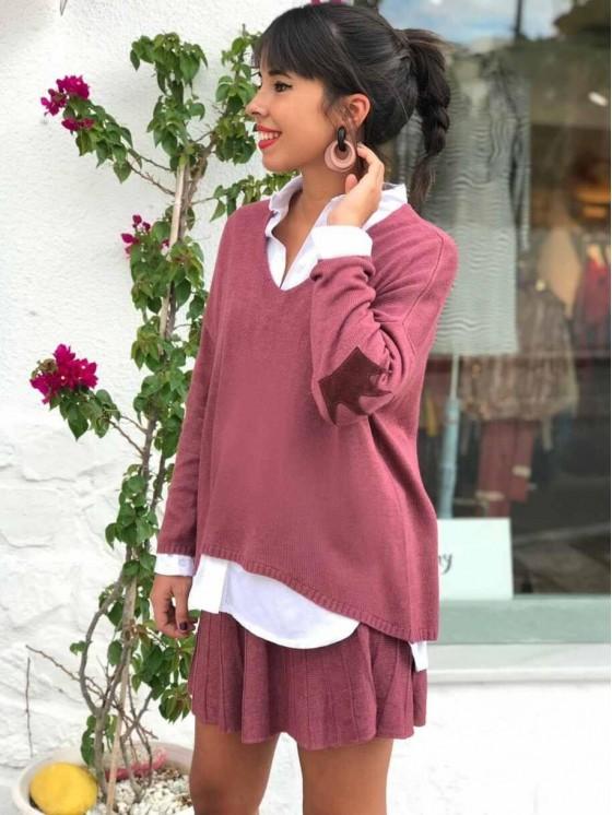 Conjunto Queen de lana rosa, casual chic