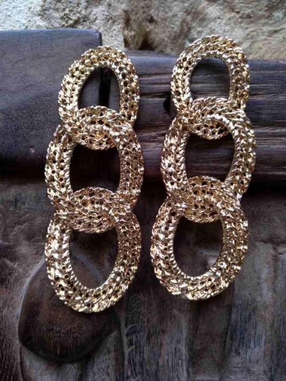 pendiente cadenas - pendiente dorado - complementos - Mariquita Trasquilá