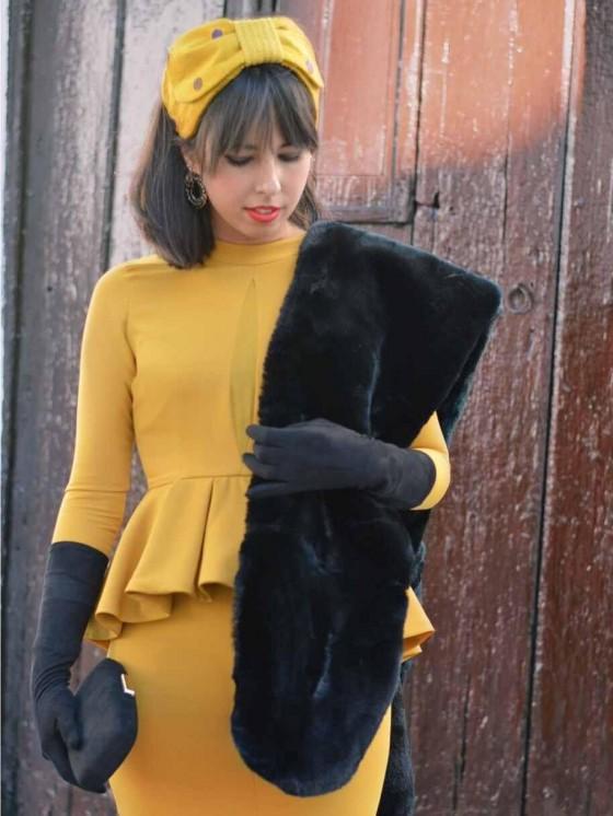 Vestido de Fiesta corto, midi, peplum,  invitada Perfecta Mariquita Trasquilá, Moisela