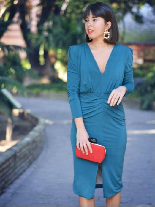 Vestido de Fiesta Fruncido A.L. - vestido de fiesta corto azul - vestido de fiesta bonito y barato - Mariquita Trasquilá