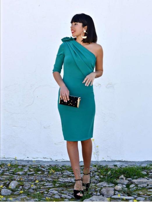VESTIDO ASIMÉTRICO ALINA  - vestido de fiesta barato - vestido  para boda verde - Mariquita Trasquilá